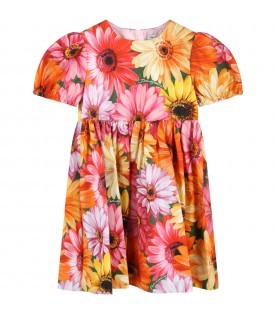 Multicolor dress for baby girl with gerberas