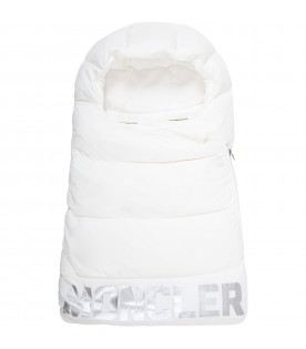 White sleeping-bag for babykids with silver logo
