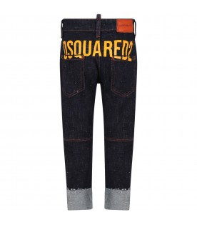 Blue Jeans denim for boy with yellow logo