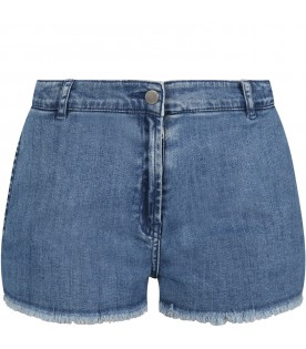 Light-blue shorts for girl with butterfly