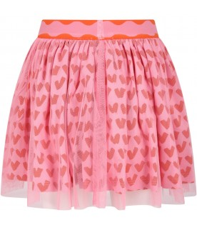 Pink skirt for girl with hearts