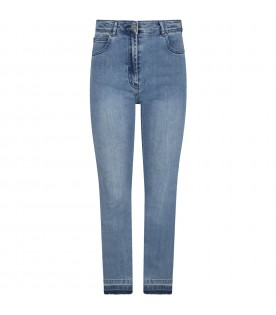 Light-blue jeans for girl with butterfly