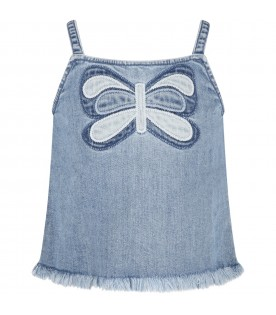 Light-blue top for girl with butterfly