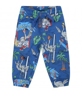 Blue sweatpant for baby boy with grey flamingos