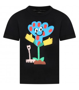 Black T-shirt for kids with flowers