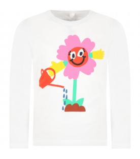 White T-shirt for kids with flowers