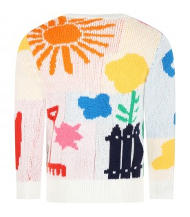 White sweater for kids with flower