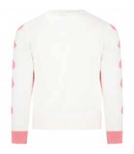 White sweater for girl with dog