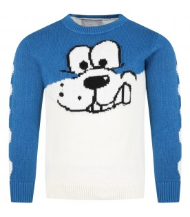 Multicolor sweater for kids with Doodle Dog