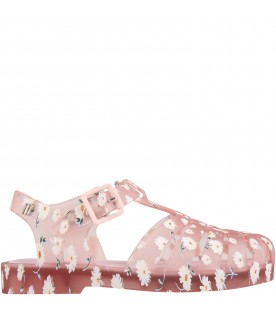 Pink sandals for girl with daisies