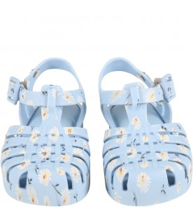 Light blue sandals for girl with daisies