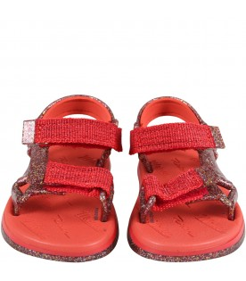 Multicolor sandals for girl with logo