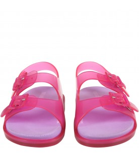Fuchsia sandals for girl with logo