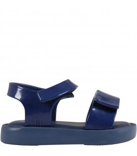 Blue sandals for kids with logo