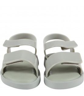 Green sandals for kids with logo