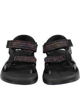 Black sandals for girl with logo