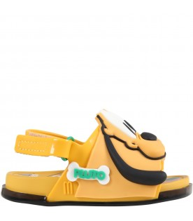 Orange sandals for kids with Pluto