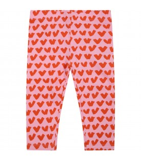 Pink leggings for baby girl with hearts