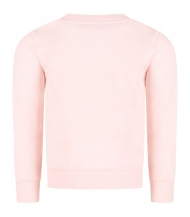 Pink sweatshirt for girl with tiger