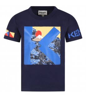 Blue t-shirt for boy with prints