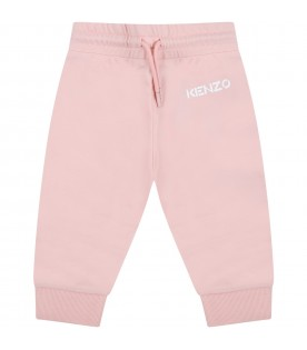 Pink sweatpant for baby girl with logo