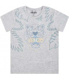 Grey t-shirt for baby kids with tiger