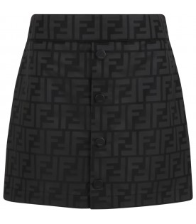 Black skirt for girl with iconic FF logo