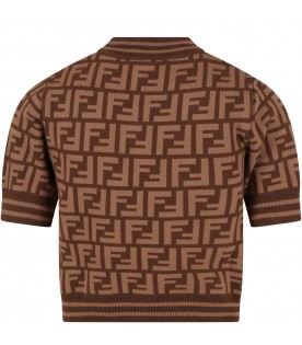 Brown sweater for girl with double FF logo