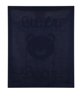 Blue blanket for baby boy with bear and logo