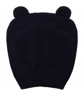 Blue hat for baby boy with bear