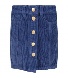 Blue skirt for girl with patch logo