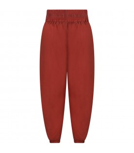 Brown trousers for kids with blue logo