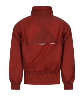 Brown jacket for kids with logo
