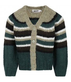 Multicolor cardigan for kids with logo