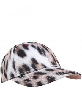 Beige hat for kids with logo