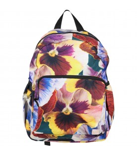 Multicolor backpack for girl with floral print