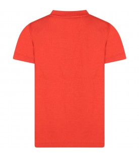 """Red """"Road"""" t-shirt for boy with snowboarding print"""