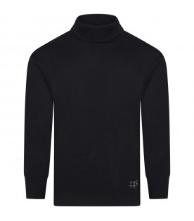 Black turtleneck for kids with patch logo