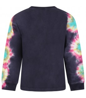 Blue T-shirt for kids with tie dye details