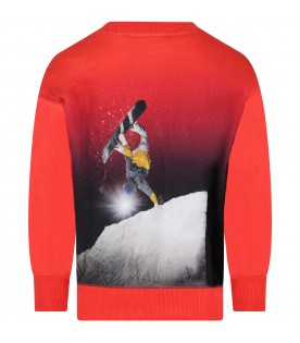 Red sweatshirt for kids with skateboarding print
