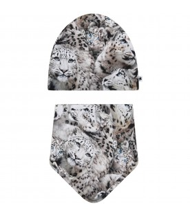Grey suit for baby kids with leopards
