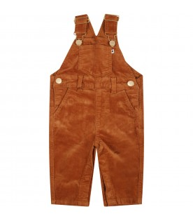 Orange dungarees for kids with patch