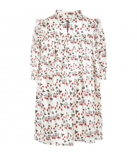 Ivory dress for girl with strawberries