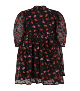Black dress for girl with flowers