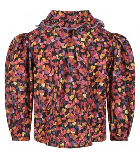 Black blouse for girl with flowers