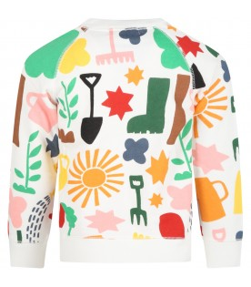 White sweatshirt for kids with colorful prints