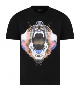 Black t-shirt for boy with bear