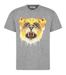 Grey t-shirt for boy with tiger