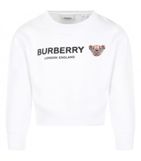 White sweatshirt for girl with iconic bear