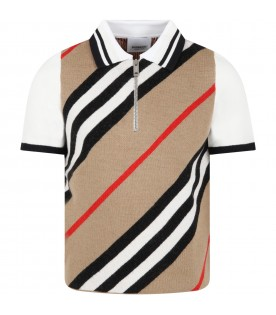 Beige sweater for kids with stripes